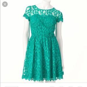LC Lauren Conrad Lace Dress- Teal Gem